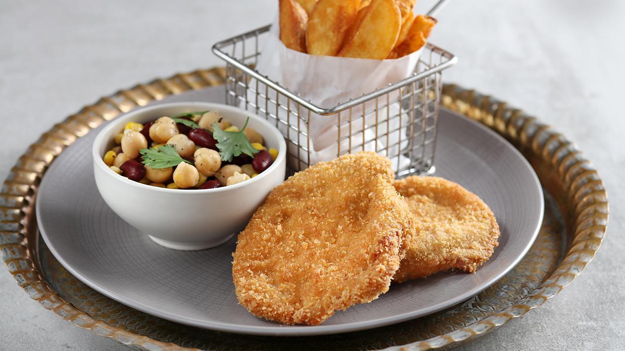 Golden Chicken Pane with three Bean Salad