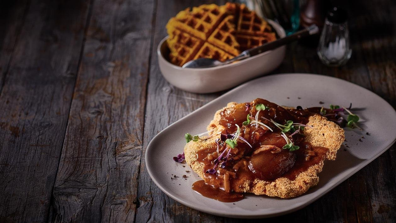 Pork Leg Schnitzel with Maple Caramelised Apple and Bacon Gravy