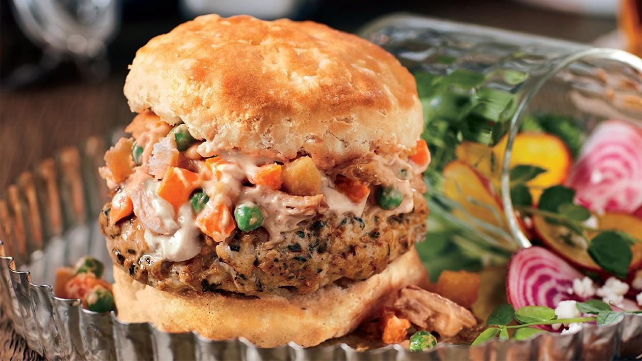 Smoked Chicken Pot Pie Burger
