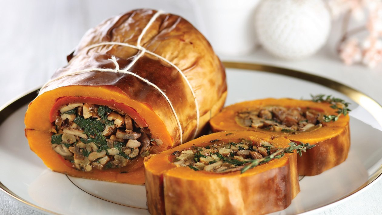 Stuffed and Roasted Butternut with Red Feta Cream