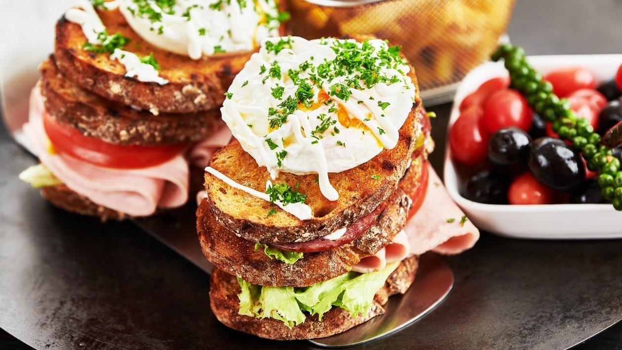 Triple Decker Chicken Mortadella Sandwich