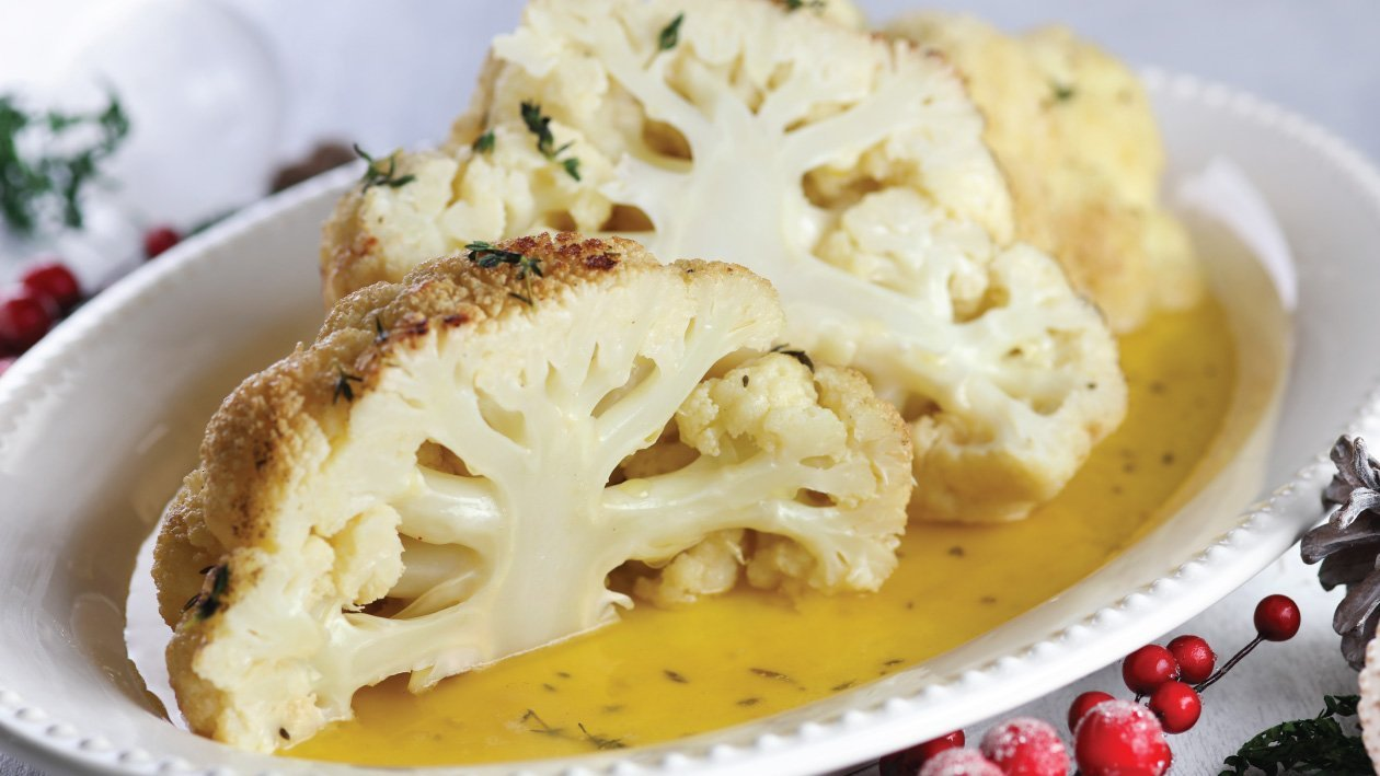 Whole Cauliflower With Butter Sauce