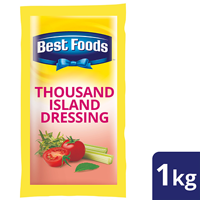 Best Foods Thousand Island Salad Dressing 1kg - No more worries about redressing! Best Foods Thousand Island brings long-lasting freshness to your European salads.