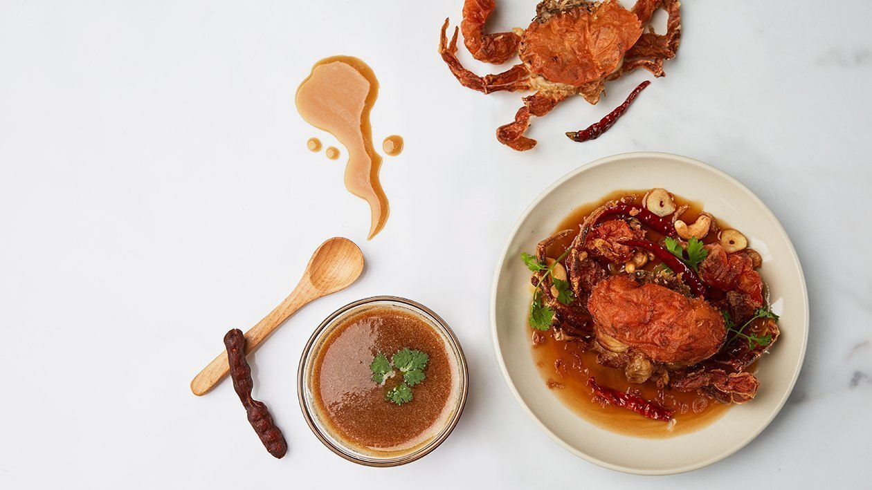 Fried Soft-Shell Crab Topped with Tamarind Sauce