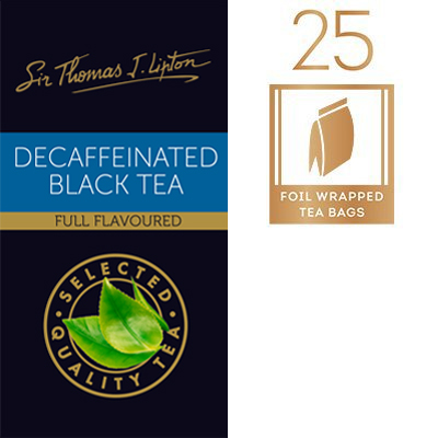 Sir Thomas Lipton Decaffeinated 2g - A full flavoured decaffeinated black tea.