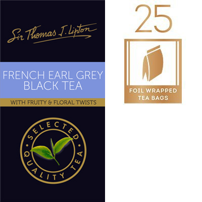 Sir Thomas Lipton French Earl Grey 2g - A twist to the classic Earl Grey, infused with invigorating floral and fruity notes.