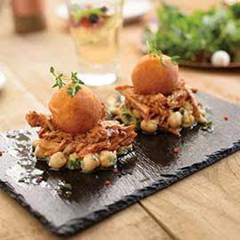 Pulled Chicken, Fried Mash Bombs with Chickpea Lemon Salsa