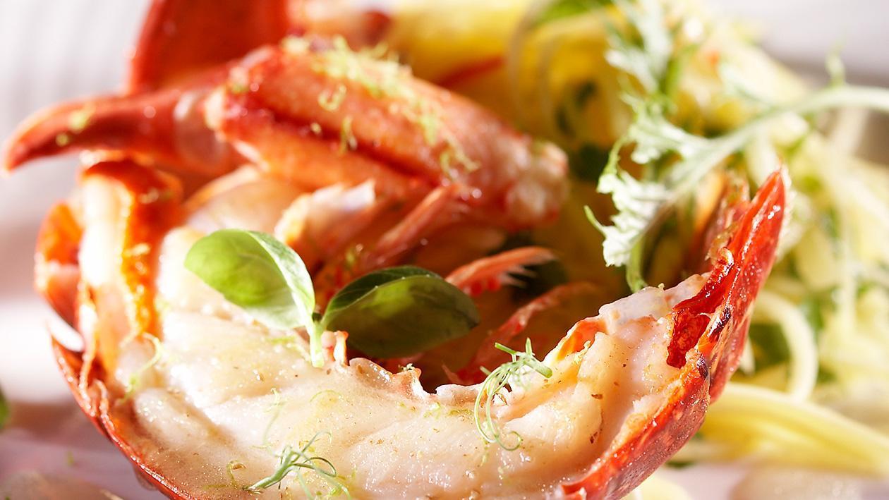 Baked Lobster with Thai Mango Salad and Basil Vinaigrette