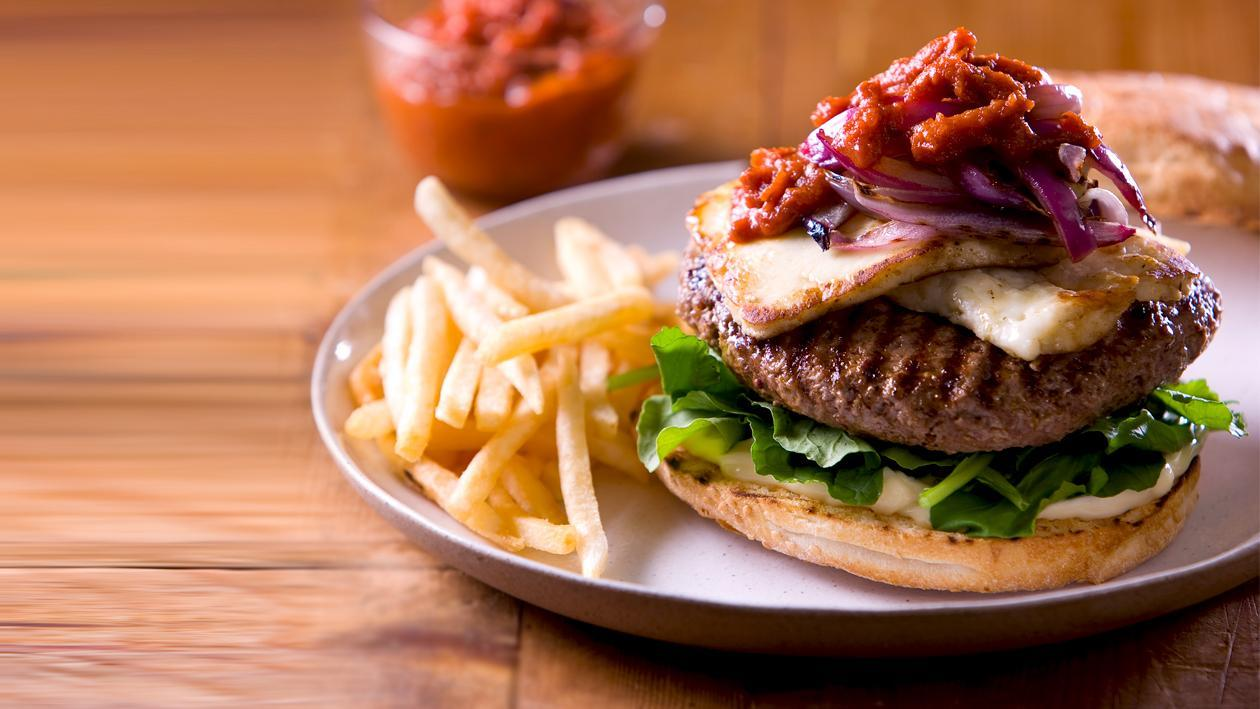 Char Grilled Lamb Burger, Grilled Haloumi, Tomato Sauce