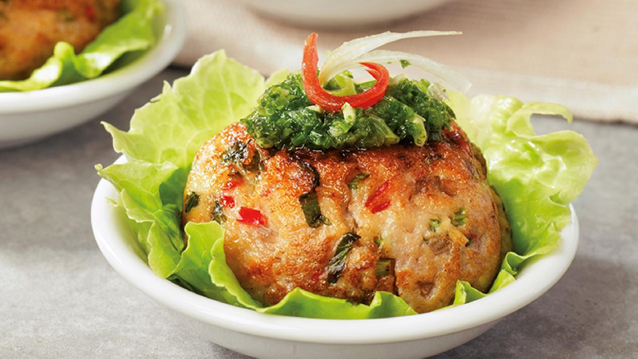 Marinated Minced Fish Cakes, Coriander Vinaigrette