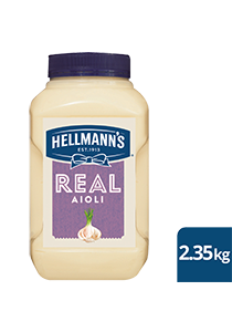 HELLMANN'S Real Aioli 2.35 kg/2.5 L - Made to an authentic egg yolk recipe for a scratch - made taste, that's also Gluten Free.