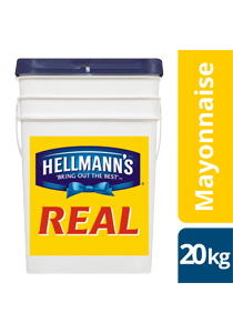 HELLMANN'S Real Mayonnaise 20 kg - The thick and creamy texture of HELLMANN'S Real holds up and won't split under pressure.