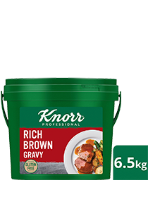 KNORR Rich Brown Gravy Gluten Free 6.5kg - Gluten-free and vegetarian, this trusted, all-rounder gravy goes well with everything from steaks, pies and casseroles.