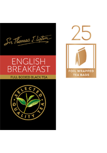 SIR THOMAS LIPTON English Breakfast Envelope Tea 25's - Impress your guests with Sir Thomas Lipton teas, exclusively selected from the world's renowned tea regions.