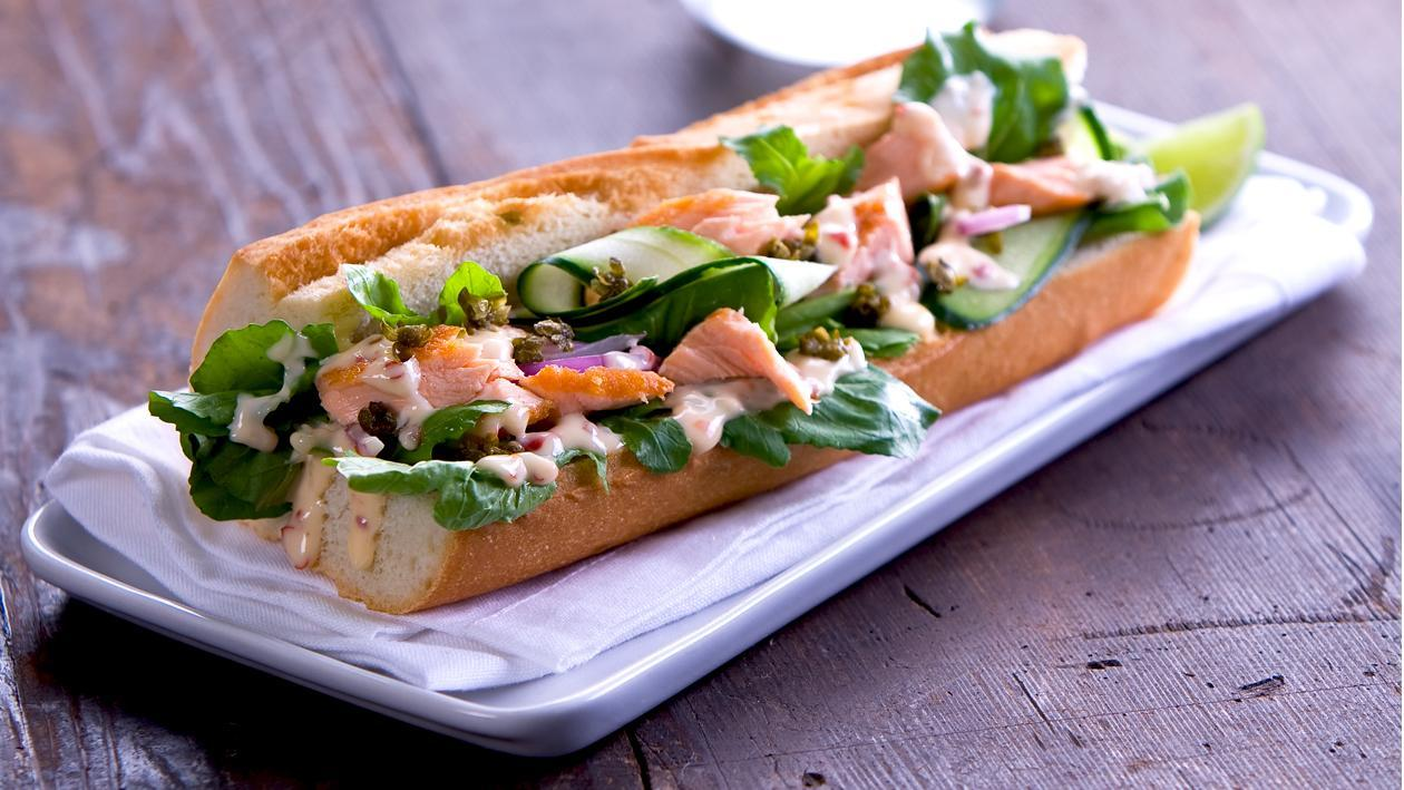 Baguette with Roasted Salmon and Lime Chilli Mayonnaise – Recipe