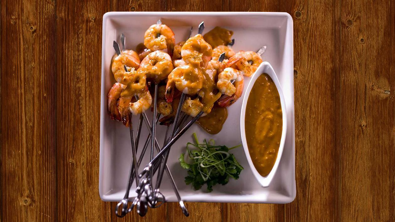 BBQ Tiger Prawns on Skewers with Malaysian Style Satay Sauce – Recipe