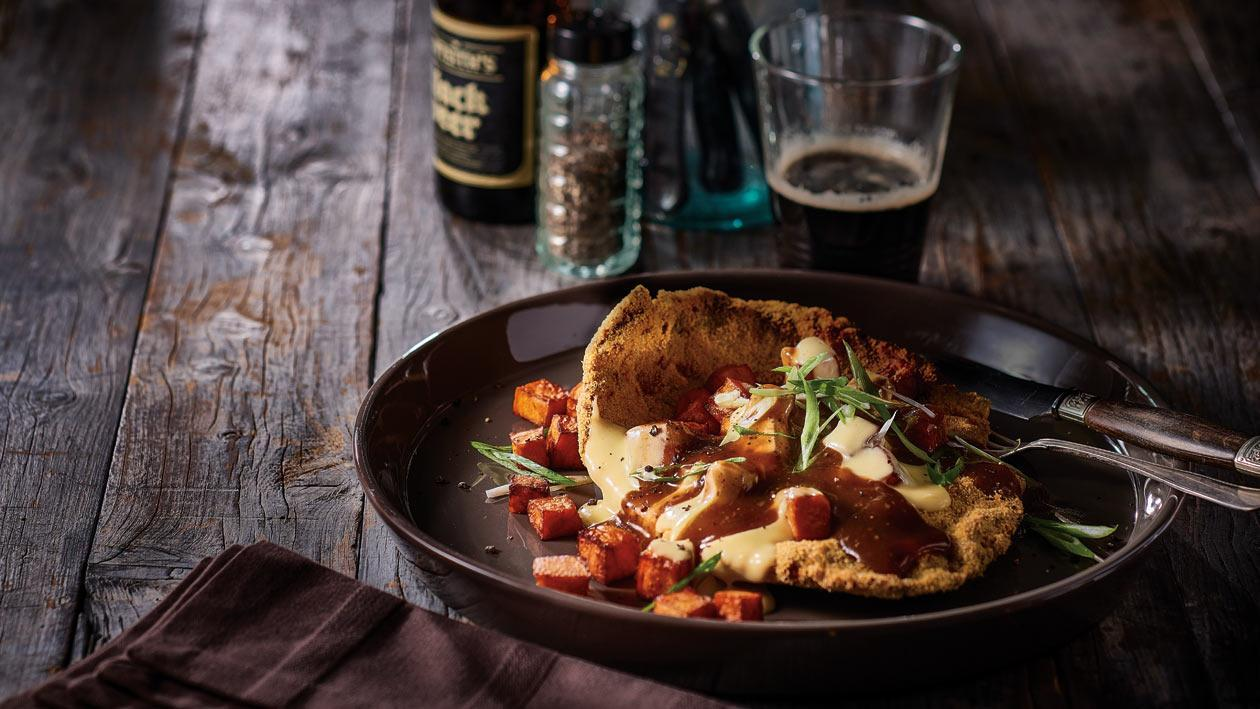 Beef Schnitzel, Sweet Potato and Cheese Poutine, Pepper Gravy and Green Onions – Recipe