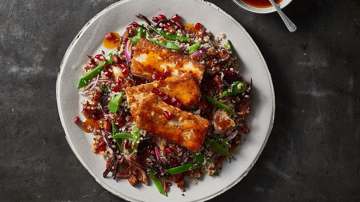 Char Halloumi on warm quinoa salad – Recipe