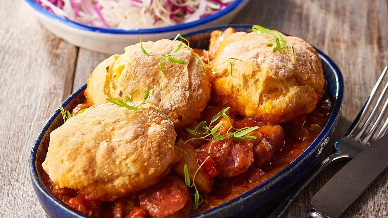 Chicken Gumbo Pie and Corn Biscuits – Recipe