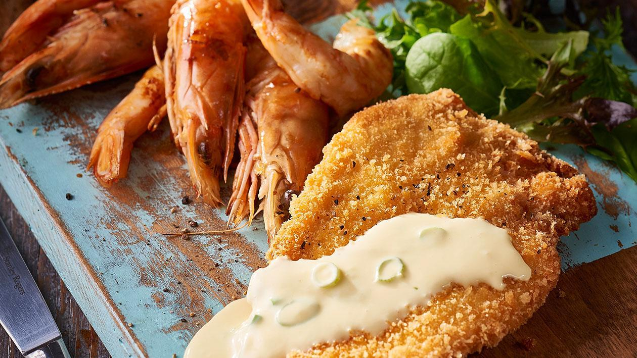 Chicken Schnitzel, Jumbo Prawns, Garlic Sauce – Recipe