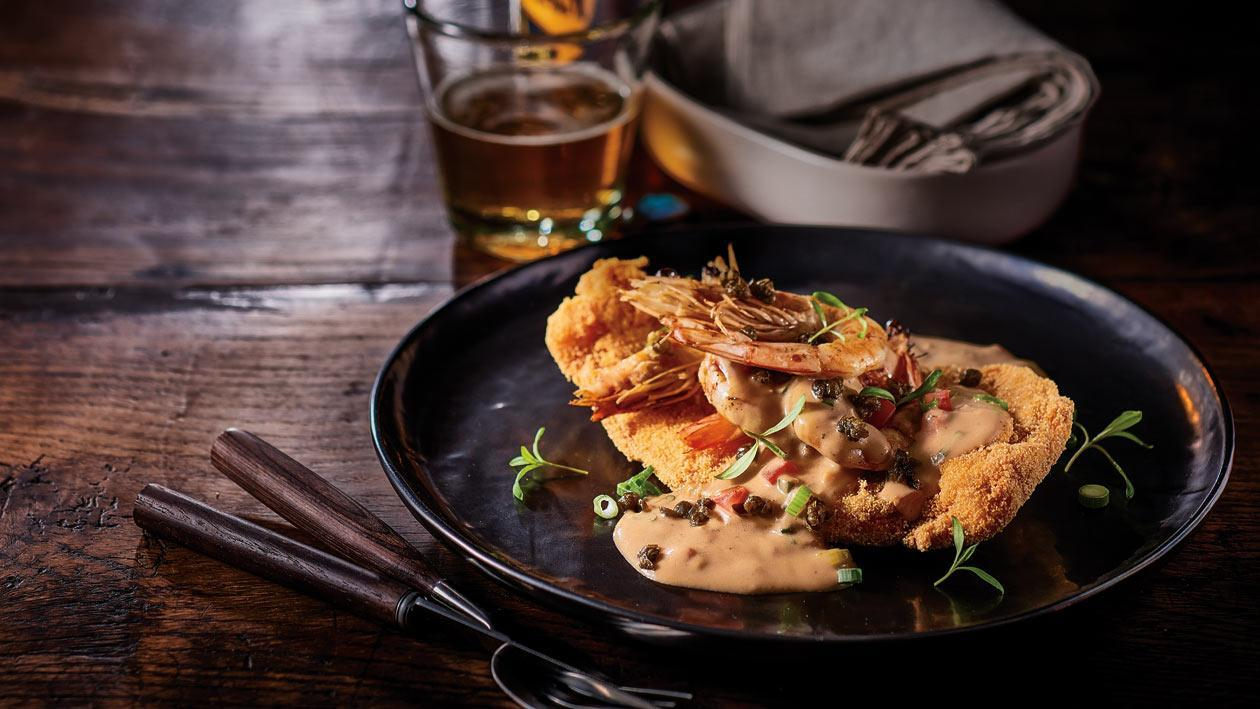 Chicken Schnitzel, Prawns, Capers, Creamy Garlic Gravy – Recipe