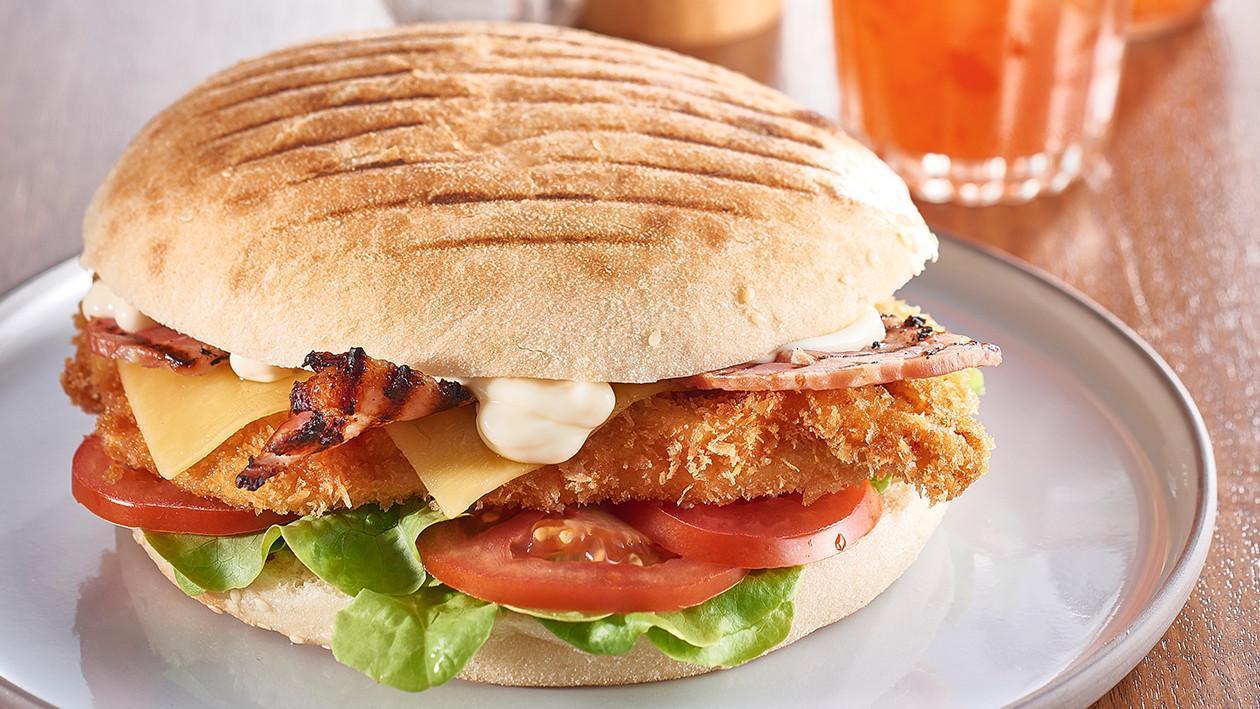 Chicken Schnitzel Turkish with Roma, Swiss Cheese and Honey Bacon – Recipe