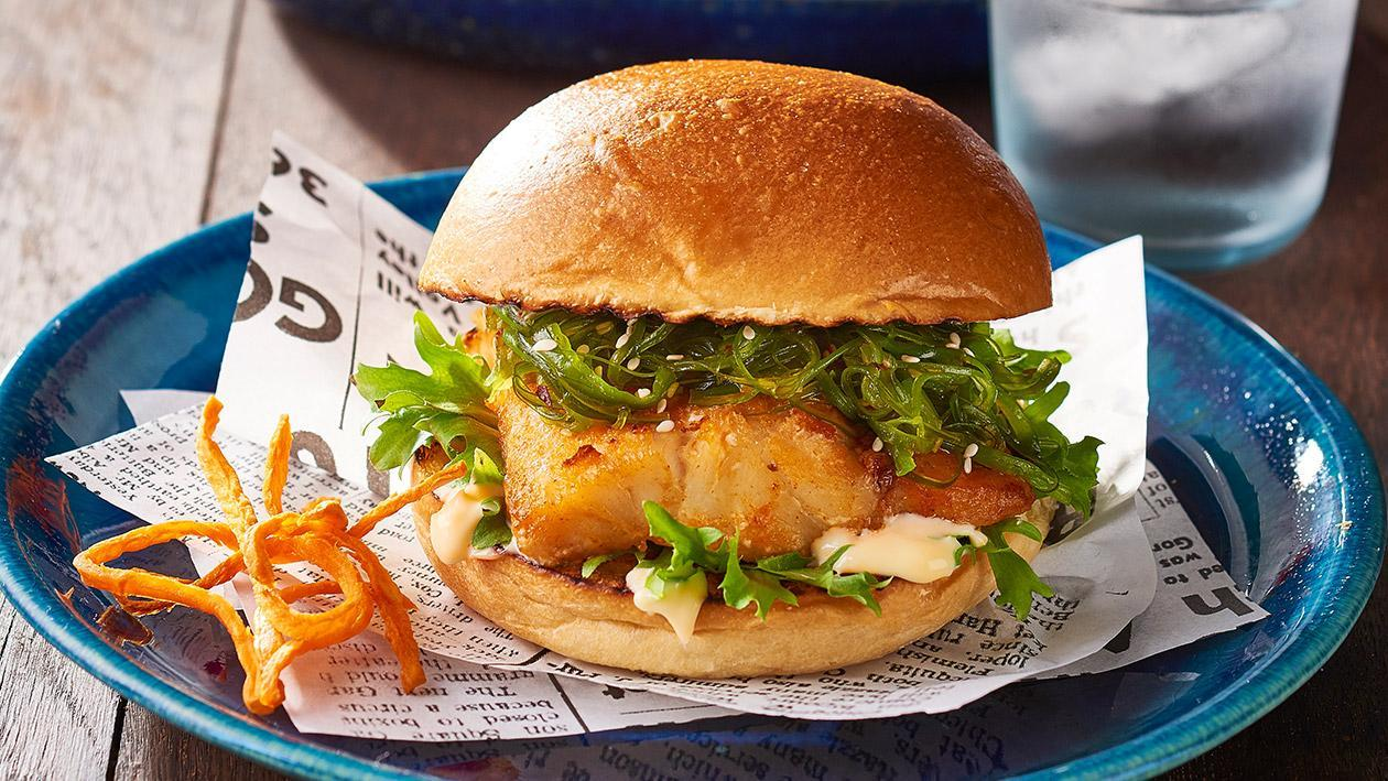 Chilli Fish, Wakame, Yuzu Burger – Recipe