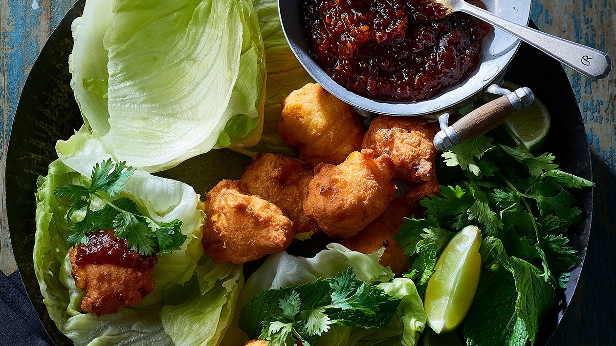 Corn Fritter Chilli Jam Choy Bow – Recipe