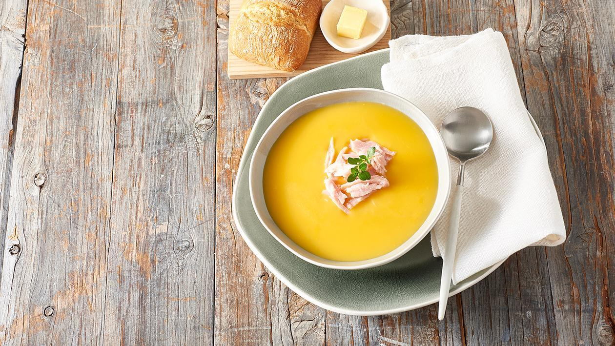 Cream of Pumpkin Soup with Smoked Ham and Roasted Garlic – Recipe