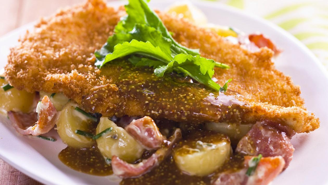 Crispy Chicken Schnitzel with Warm Potato, Bacon Salad and Seeded Mustard Sauce – Recipe