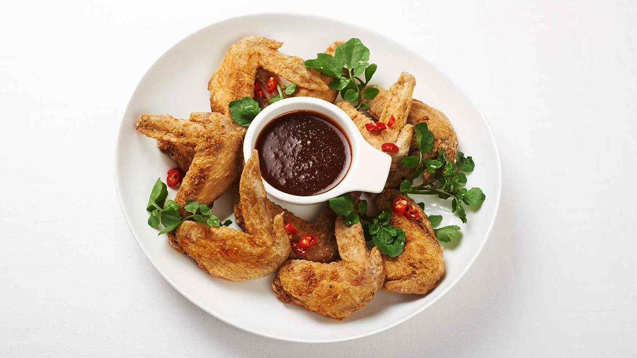 Crispy Salt and Chinese Spice Chicken Wings, Hot Dipping Sauce – Recipe