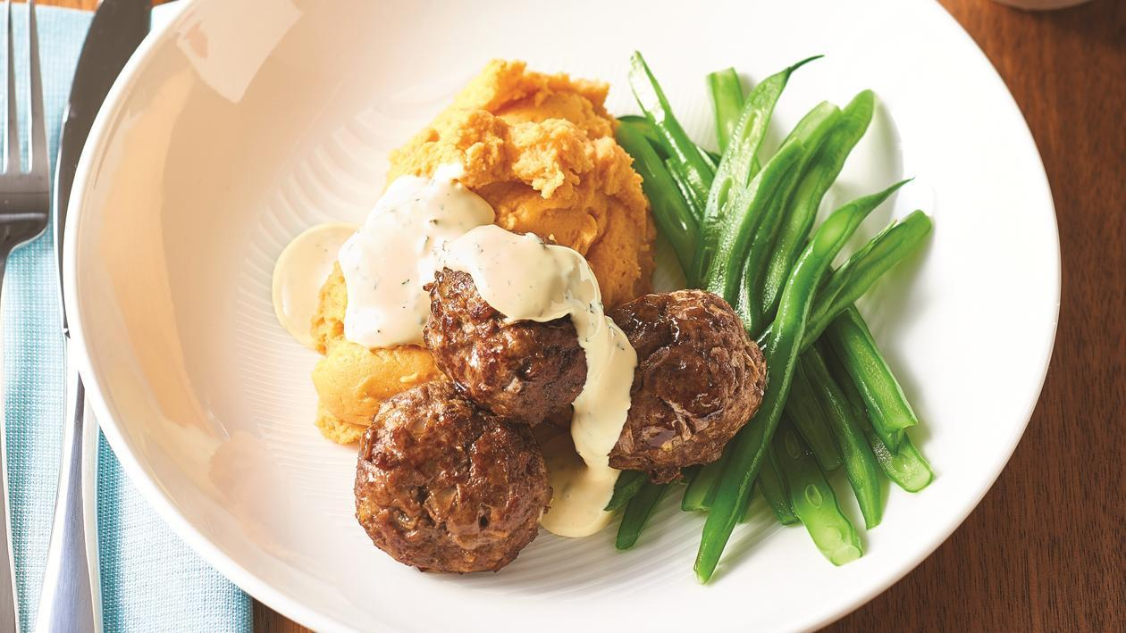 Dijon Lamb Meatballs and Minted Hollandaise Sauce – Recipe