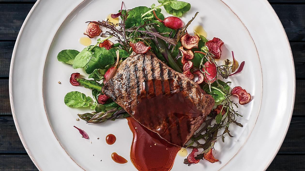 Flat Iron Steak, Lumber Jack Maple Cider Jus – Recipe
