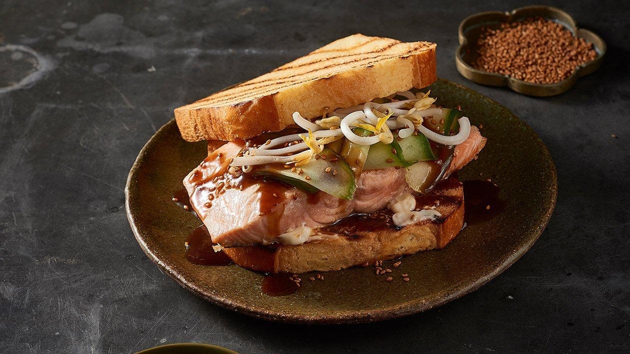 Fried Salmon Steak Sandwich with Teriyaki Mayo – Recipe