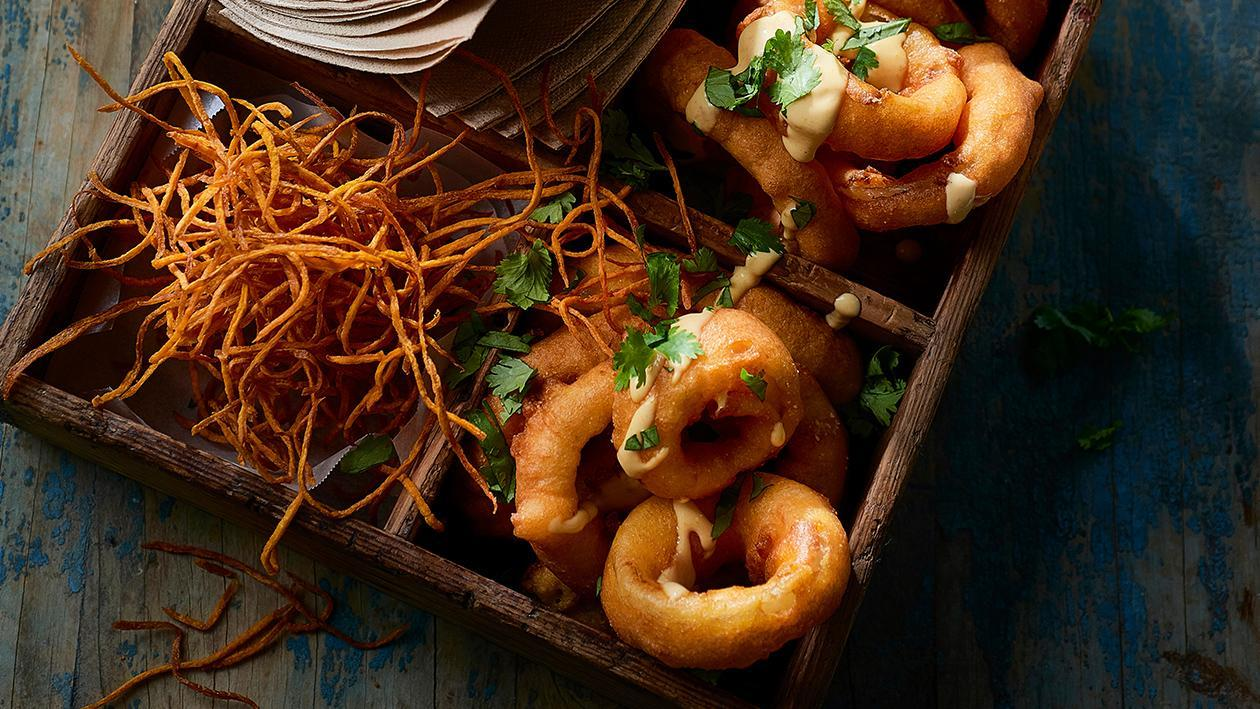 Hush Puppy Onion Rings with Smoked Maple Carrot Tahini – Recipe