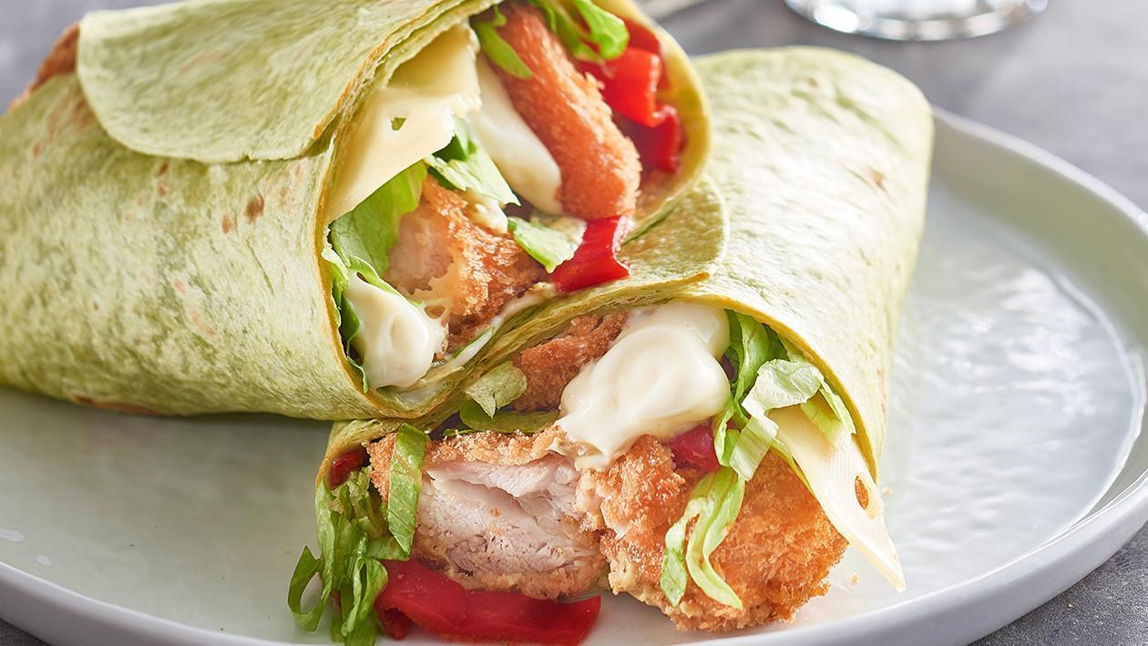 Popcorn Chicken, Spinach Wrap with Cheese, Roast Peppers, Pesto and Mayo  – Recipe