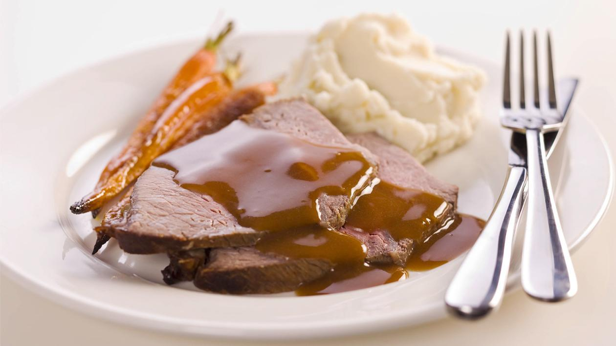 Roast Beef with Roasted Garlic Mash – Recipe
