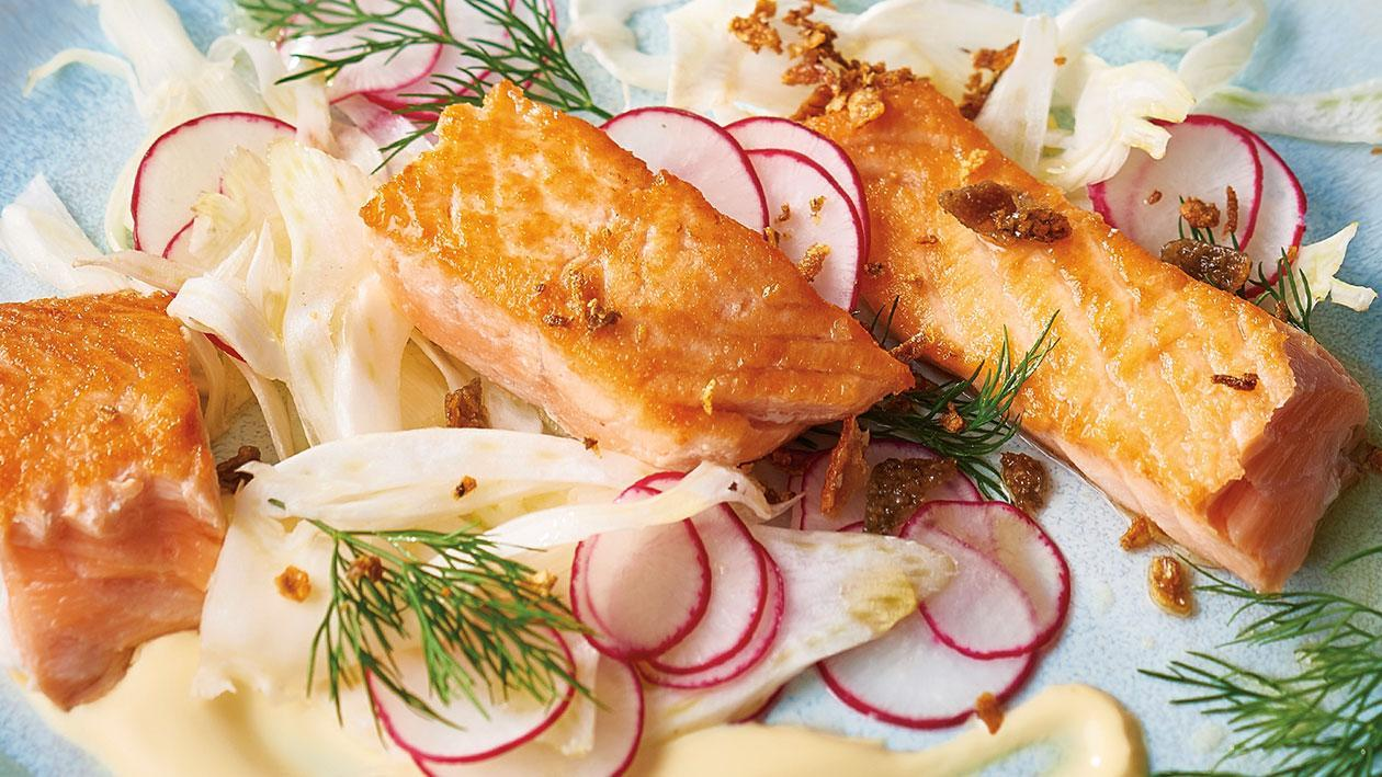 Roasted Salmon with Yuzu Sauce, Fennel and Radish Salad – Recipe