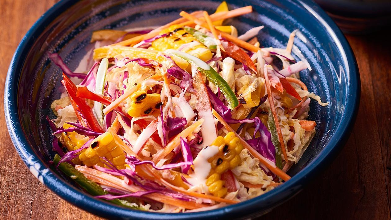 Tangy Coleslaw, Lime Mayo Dressing – Recipe
