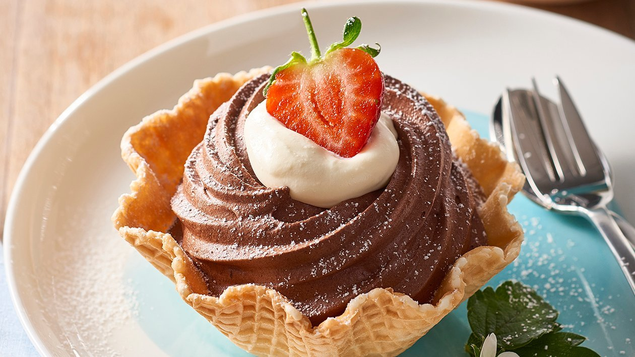 Waffle Chocolate Mousse Baskets – Recipe