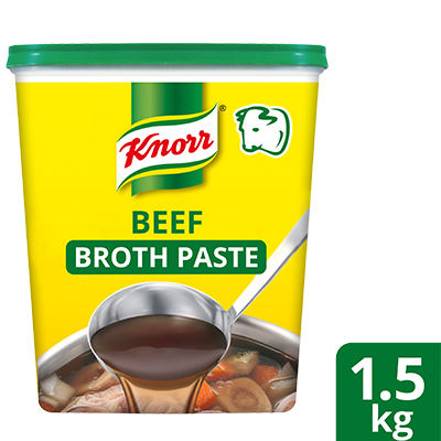 Knorr Beef Broth Base 1.5kg - Only Knorr Beef Broth delivers that full, meaty taste in your soups and stews consistently.