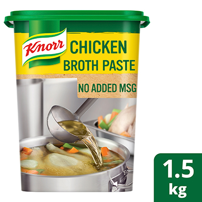 Knorr Chicken Broth Base (No Added MSG) 1.5kg - Knorr Broth Bases use real ingredients to deliver delicious meaty taste, without the added MSG