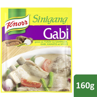 Knorr Sinigang Na May Gabi 160g - For that exceptionally delicious, sour, and thick broth, Knorr Sinigang na may Gabi brings to life the flavour combination of tamarind, gabi, tomatoes, onions, and spices - which were all carefully simmered for a long time.