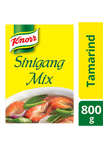 Knorr Sinigang Sa Sampalok Mix 800g - Made with real tamarind, Knorr Sinigang Mix gives you the freedom to be creative with your dishes because of its balanced sour taste