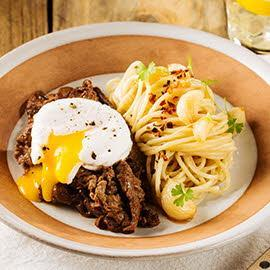 Aglio Olio Pasta with Tapa and Poached Egg
