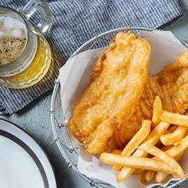 Beer-Battered Fish Fillet with Dill Dressing