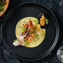 Pan-Fried Seafood with Dill Salted Egg Cream Sauce