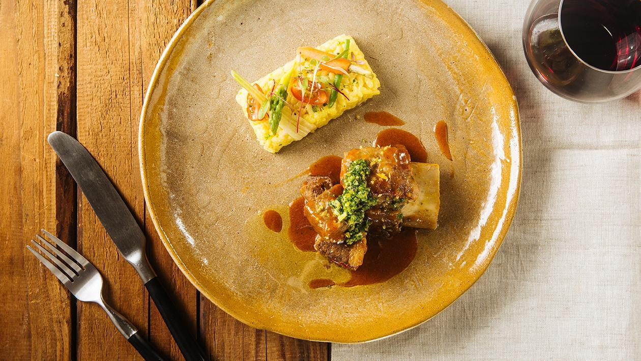 Braised Beef Shortribs with Gremolata served with Saffron