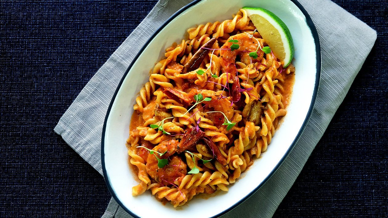 Fusilli with Shrimps in Tomato Cream Sauce