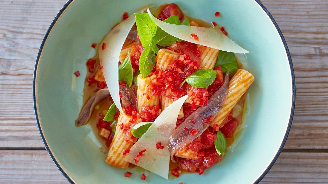 Pasta Arrabiata with Anchovies and Pecorino